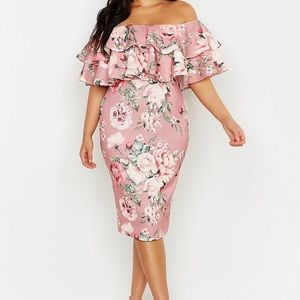 BOO HOO pink off the shoulder floral dress